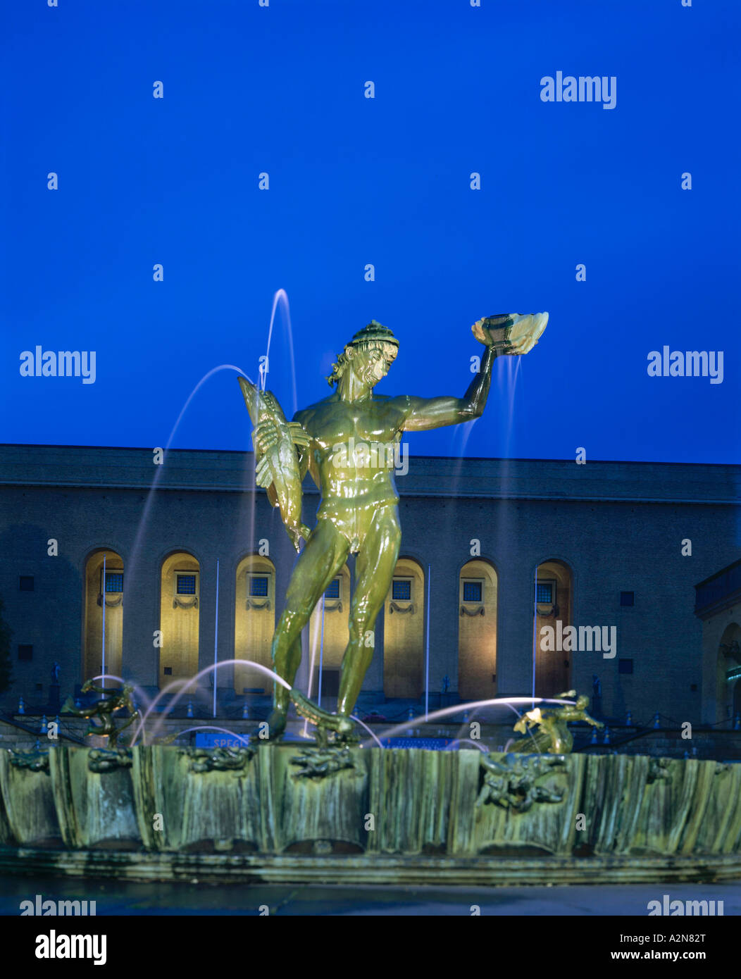 Statue of Poseidon on fountain, Gothenburg, Sweden - Stock Image