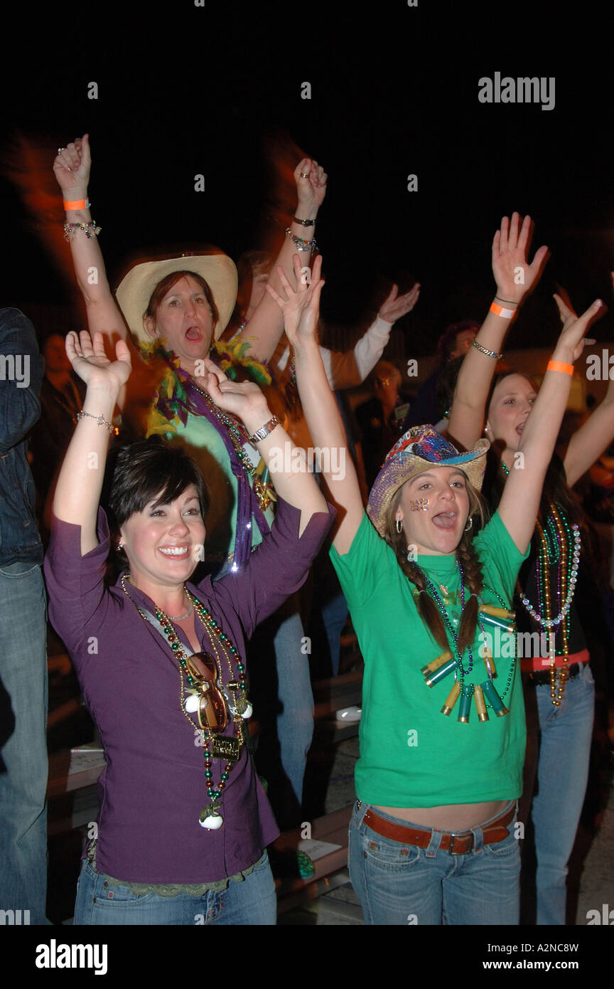 Mardi Gras Fat Tuesday is celebrated in Lake Charles in south western Louisiana with pagents and parades geared - Stock Image