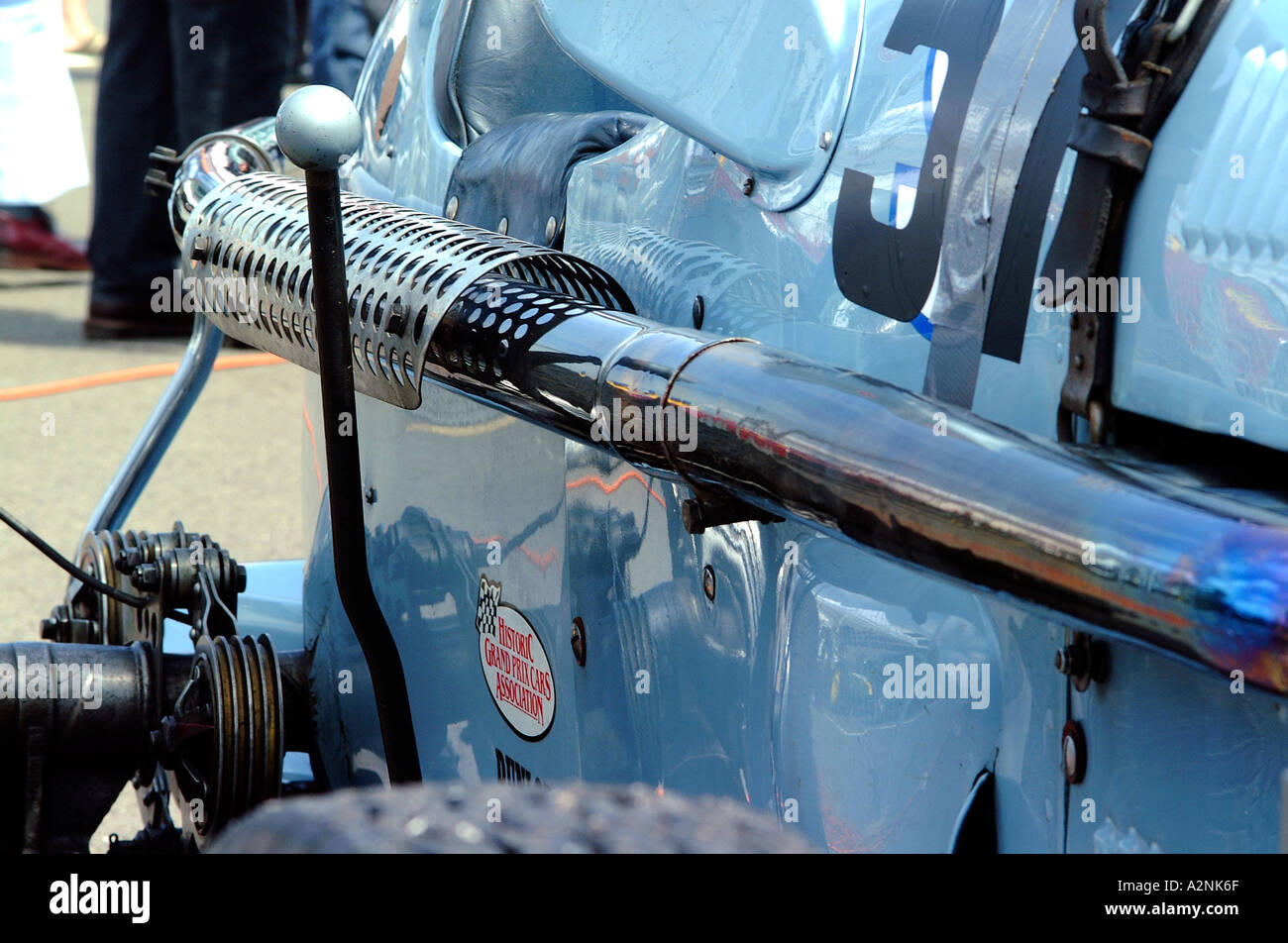 Side view of blue historic racing car - Stock Image