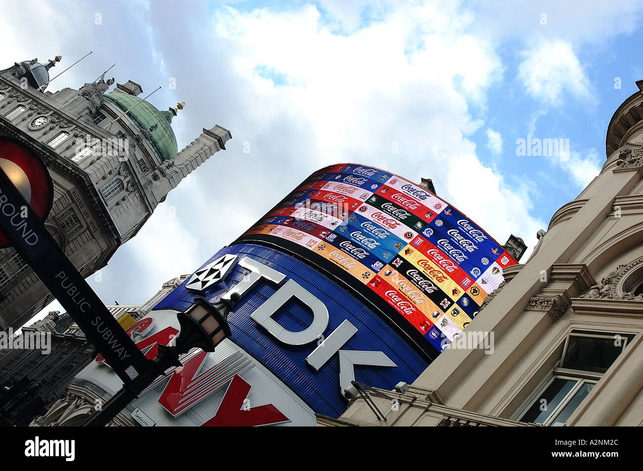 neon signs at picadilly circus - Stock Image