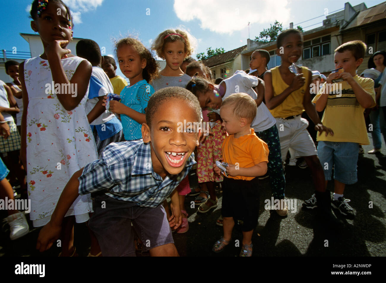 Martinique group of children with ethnic diversity - Stock Image