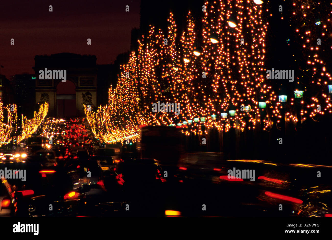 Paris Champs Elysees Arc Triomphe Christmas lights - Stock Image