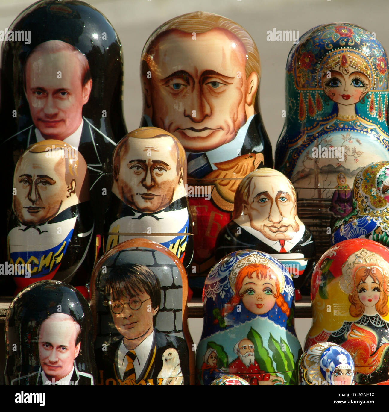President Putin portrait appears as a wooden Russian doll Seen here on a tourist souvenir stall in Moscow - Stock Image