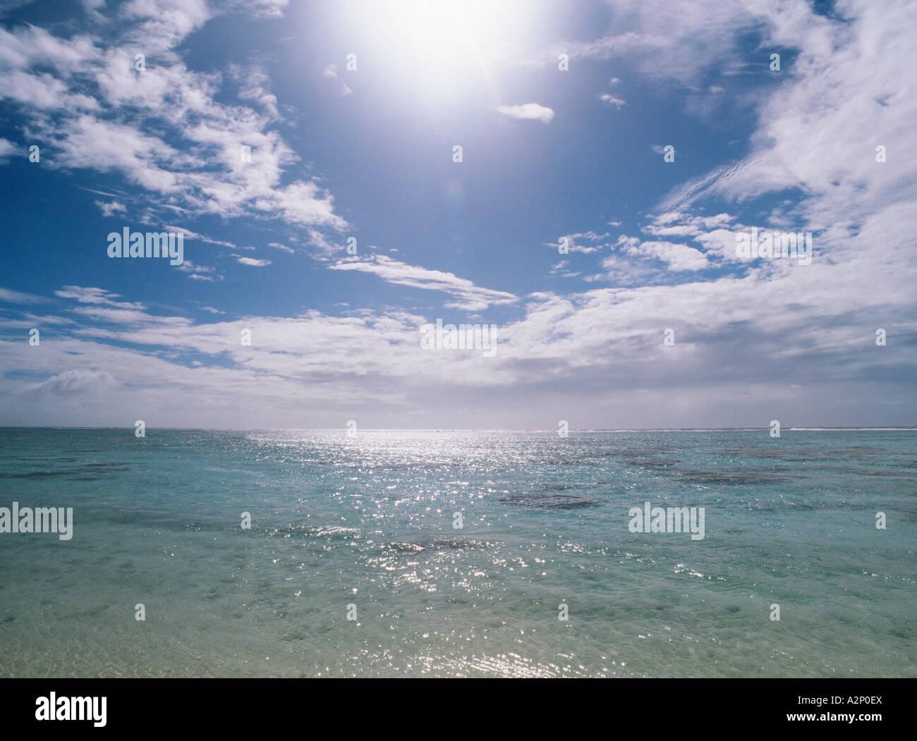Sun shining on the sea - Stock Image