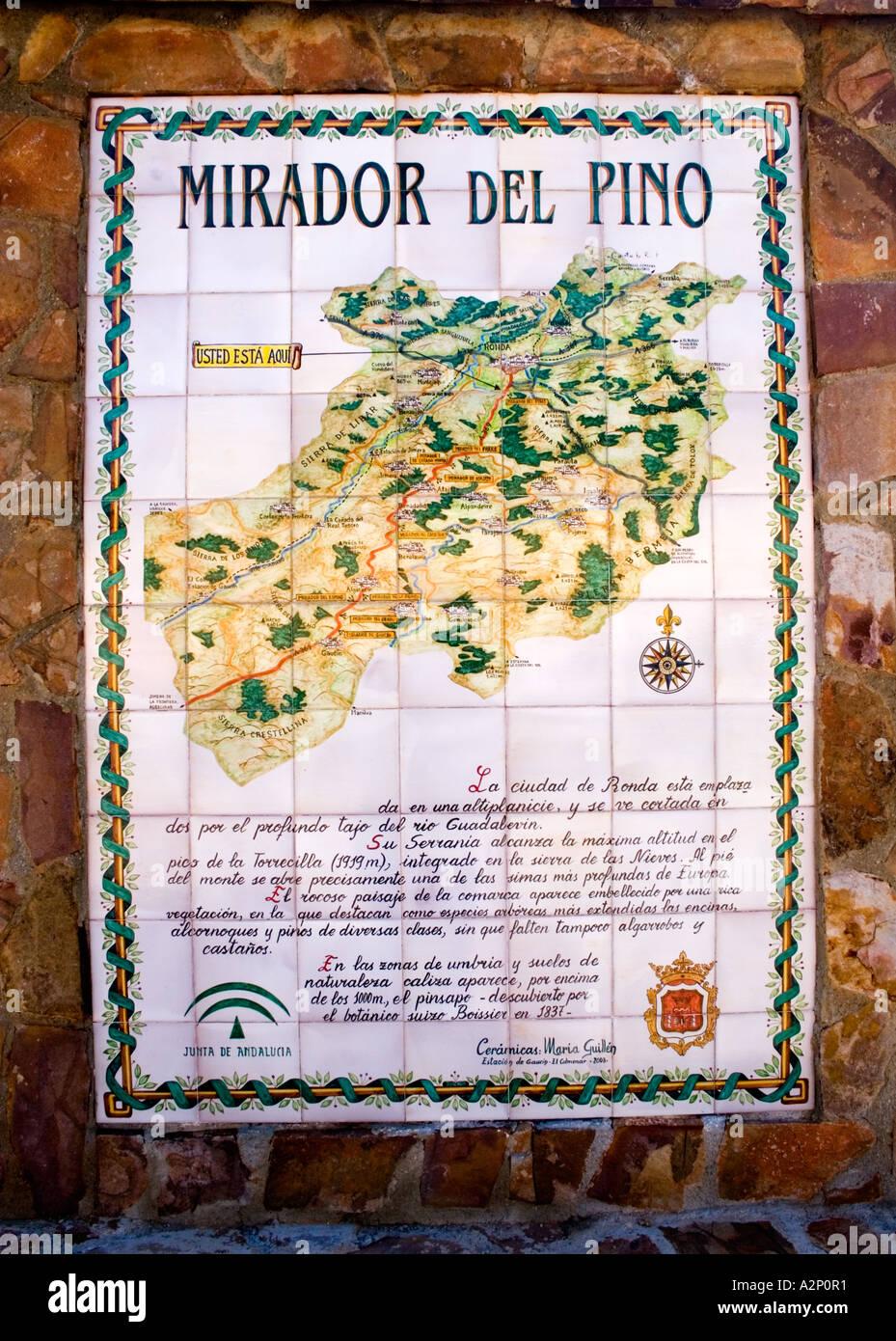 Tiled Tourist Map Nr Ronda Spain Stock Photo 6039152 Alamy