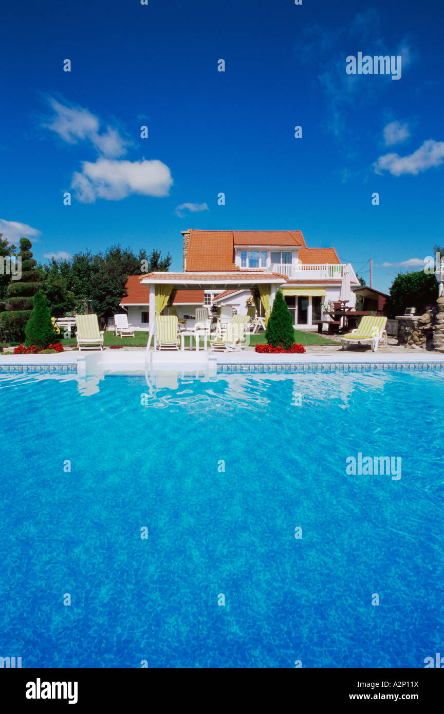 House with a swimming pool Stock Photo