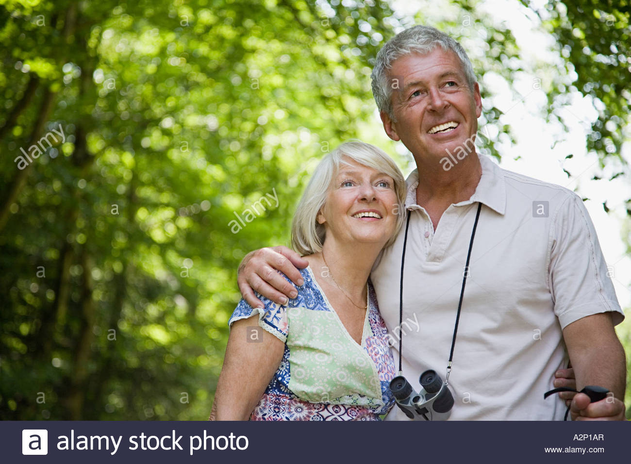 Couple in forest - Stock Image