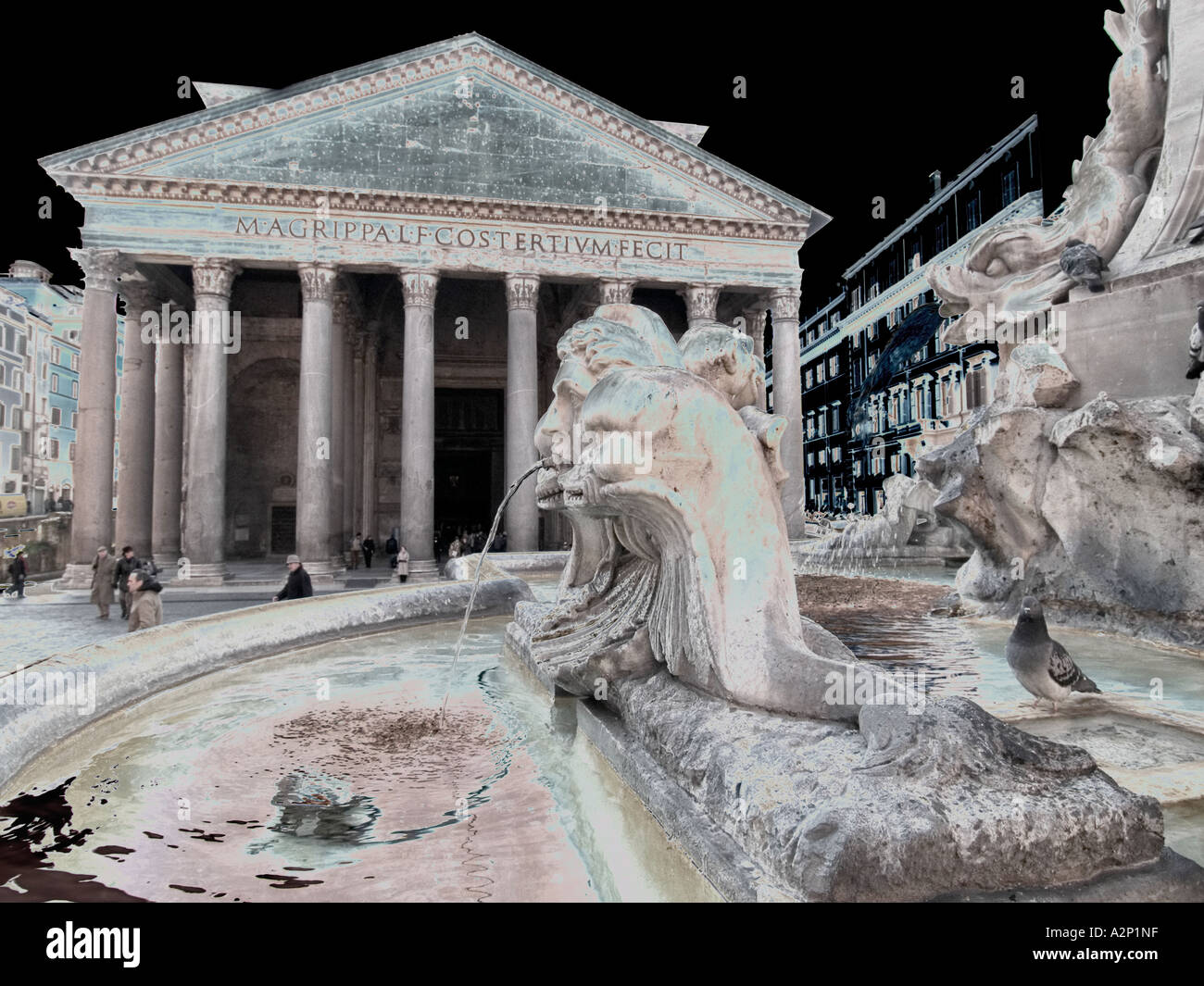 Pantheon in Rome Italy solarised - Stock Image