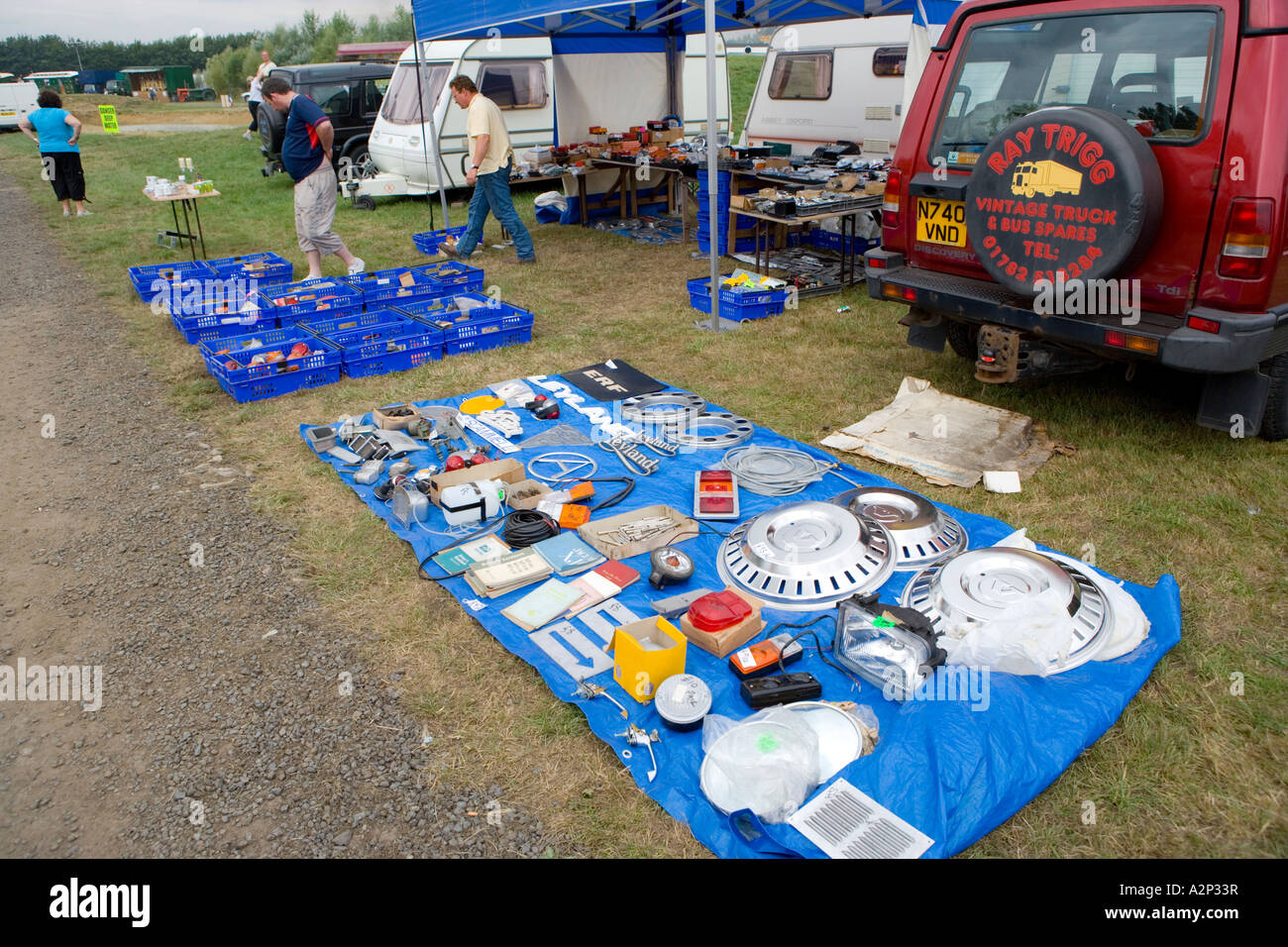 Second Hand Car Parts For Sale At An Auto Jumble Boot Sale Stock