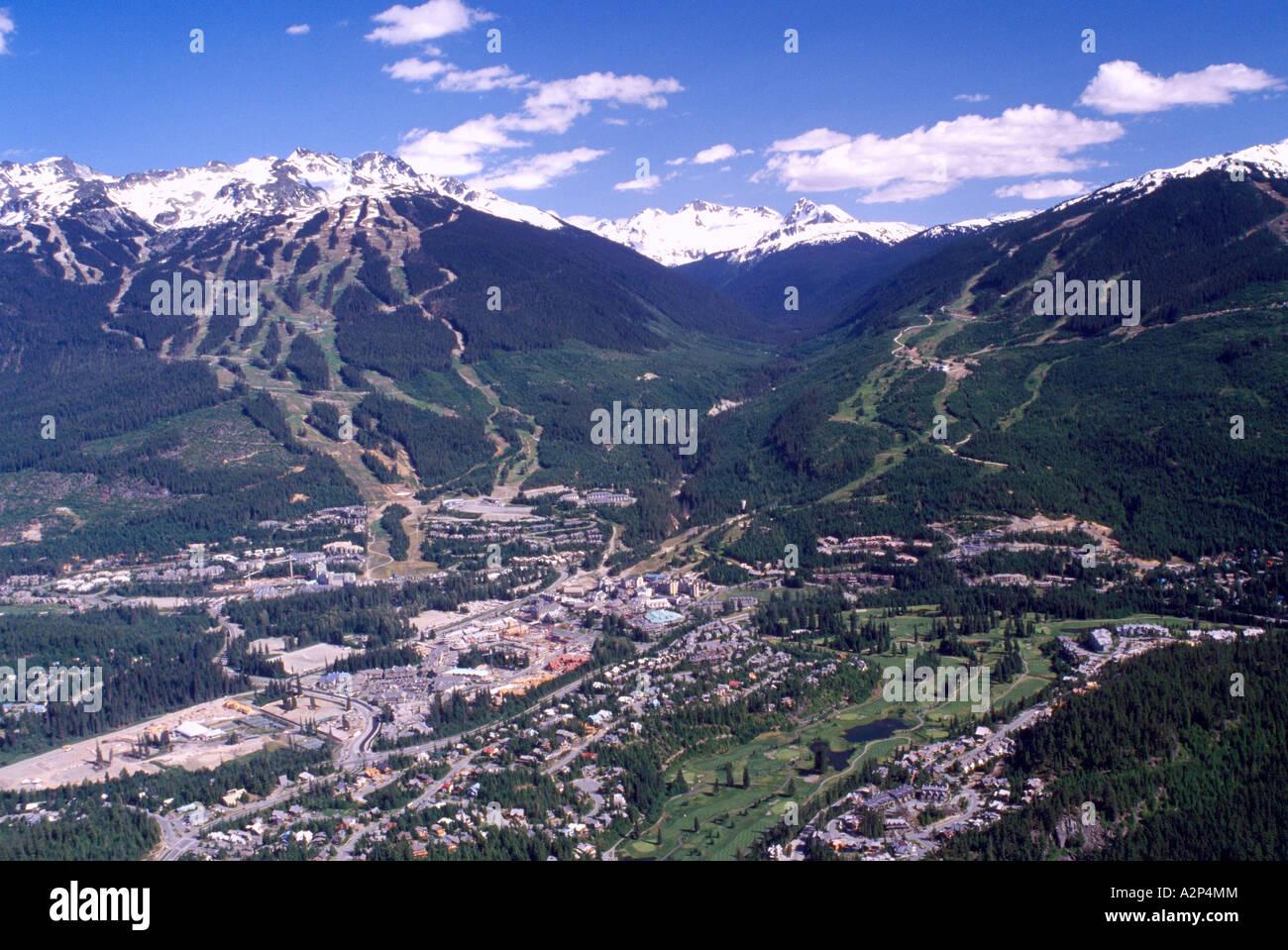 aerial view of whistler ski resort, bc, british columbia, canada