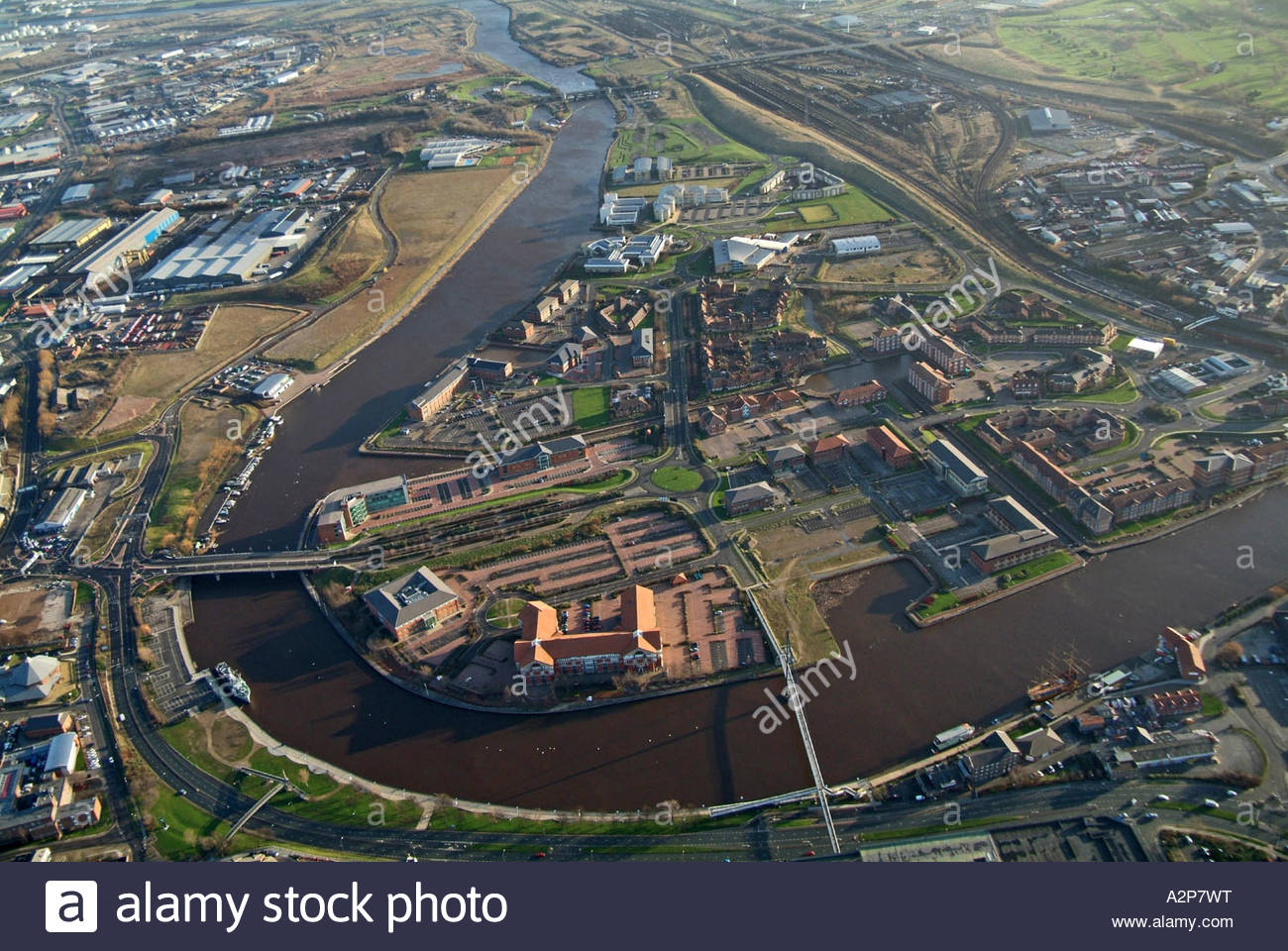 Regeneration area of Stockton upon Tees, North East England, showing river Tees and Millenium bridge - January 2007 - Stock Image
