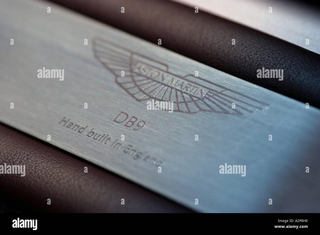 Hand Made in England badge Aston Martin DB9 sports car - Stock Image