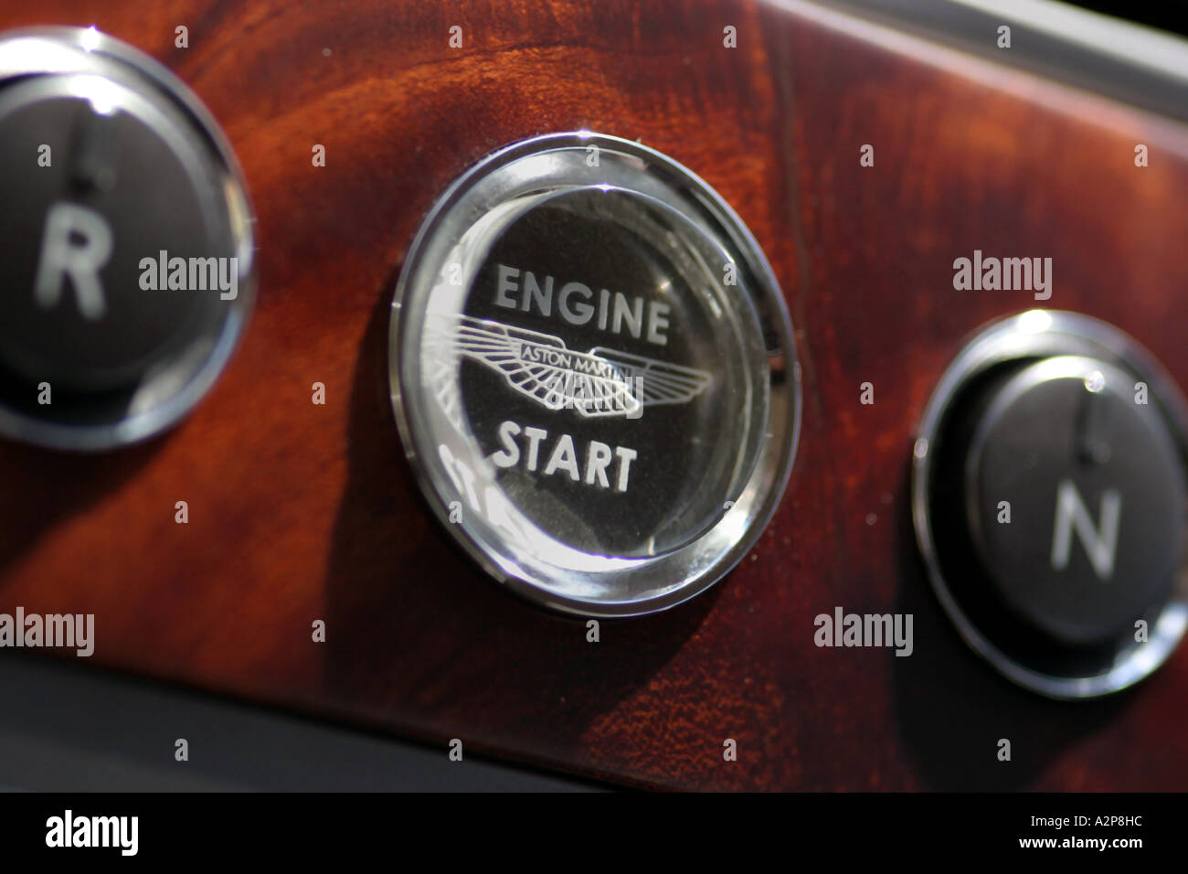 Interior View Of Dashboard And Push Start Button Of An Aston Martin Stock Photo Alamy