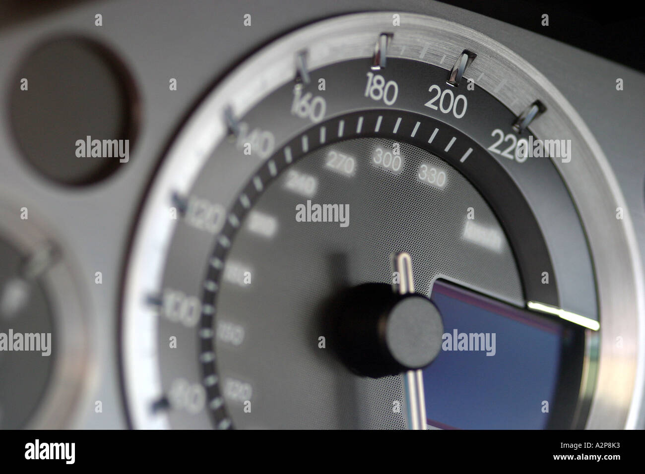 interior view of dashboard of an Aston Martin DB9 sports car - Stock Image