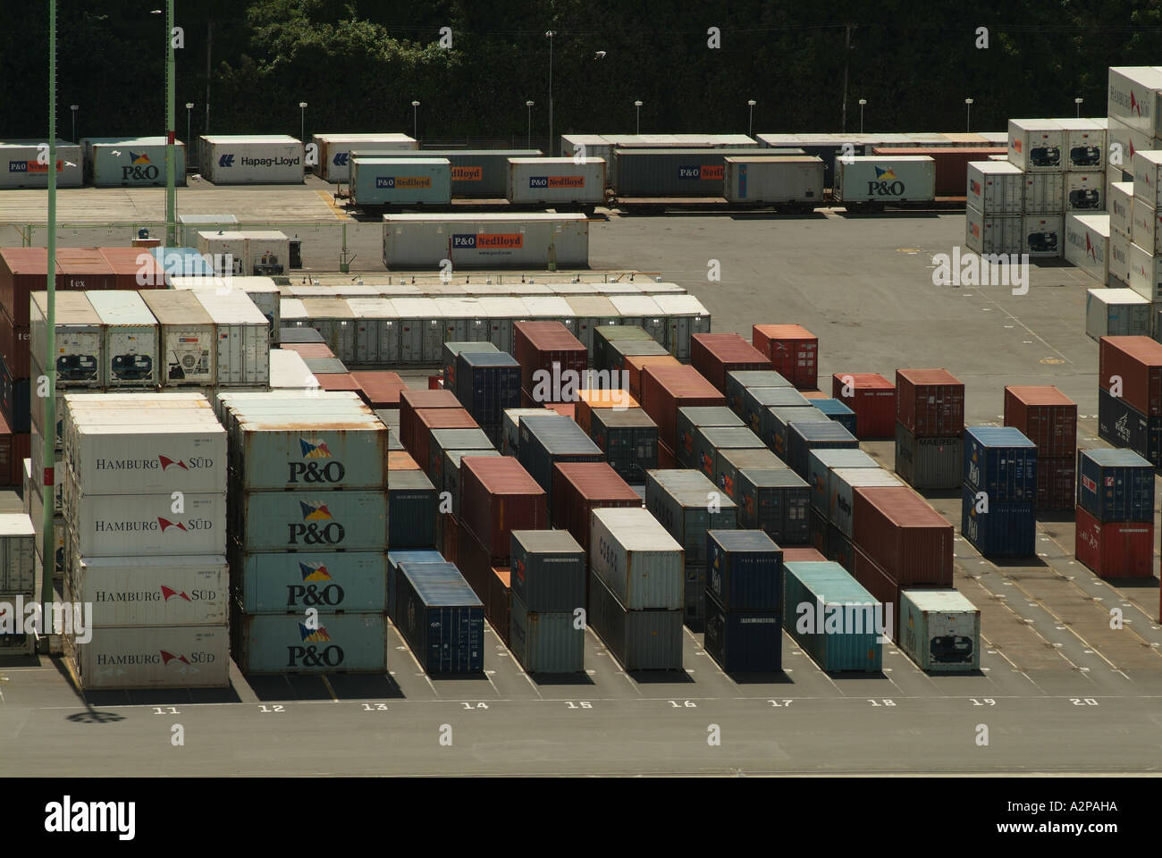 Shipping containers on Otago docks, New Zealand - Stock Image