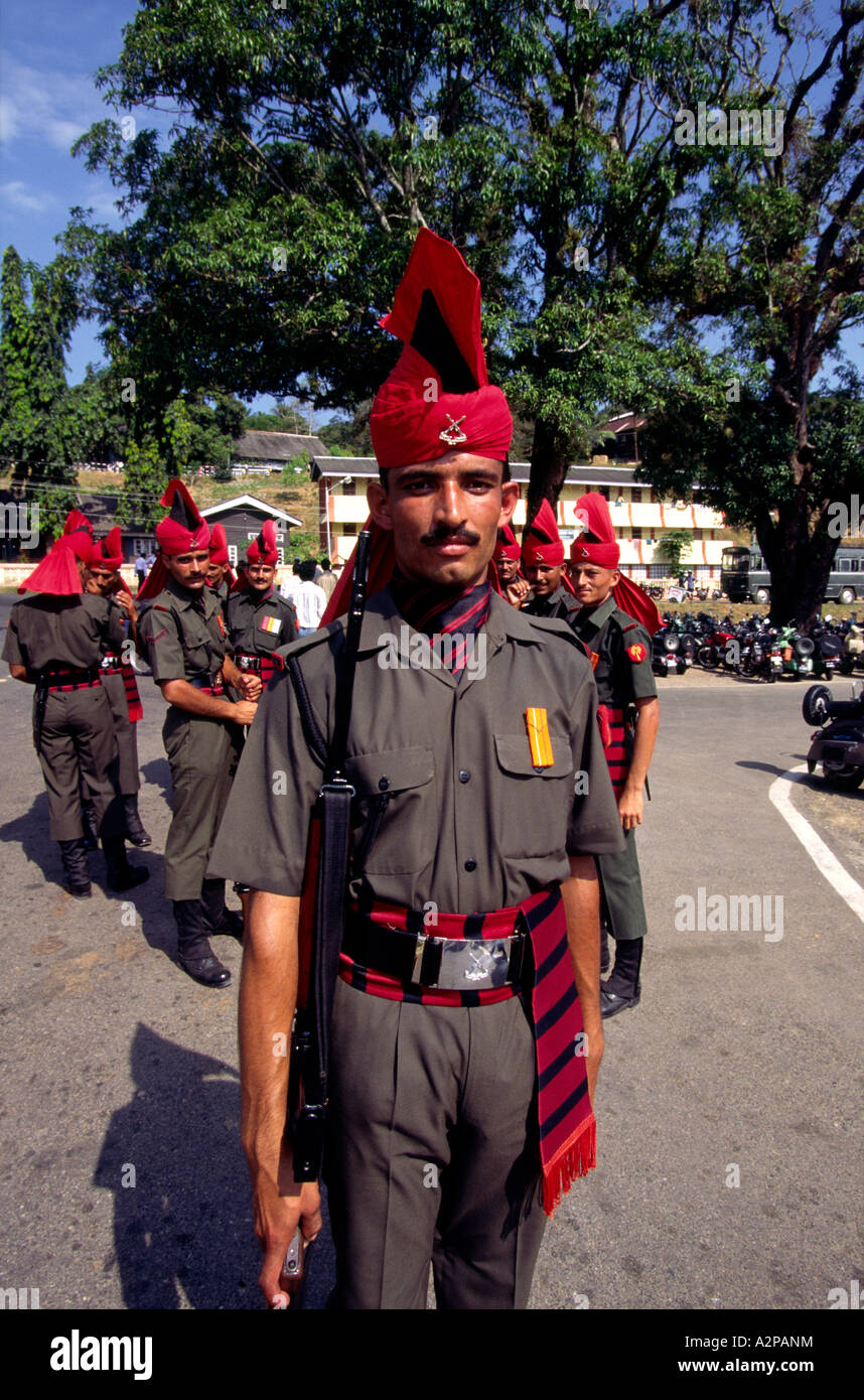 India South Andaman Island Port Blair Republic Day parade soldier in dress uniform - Stock Image