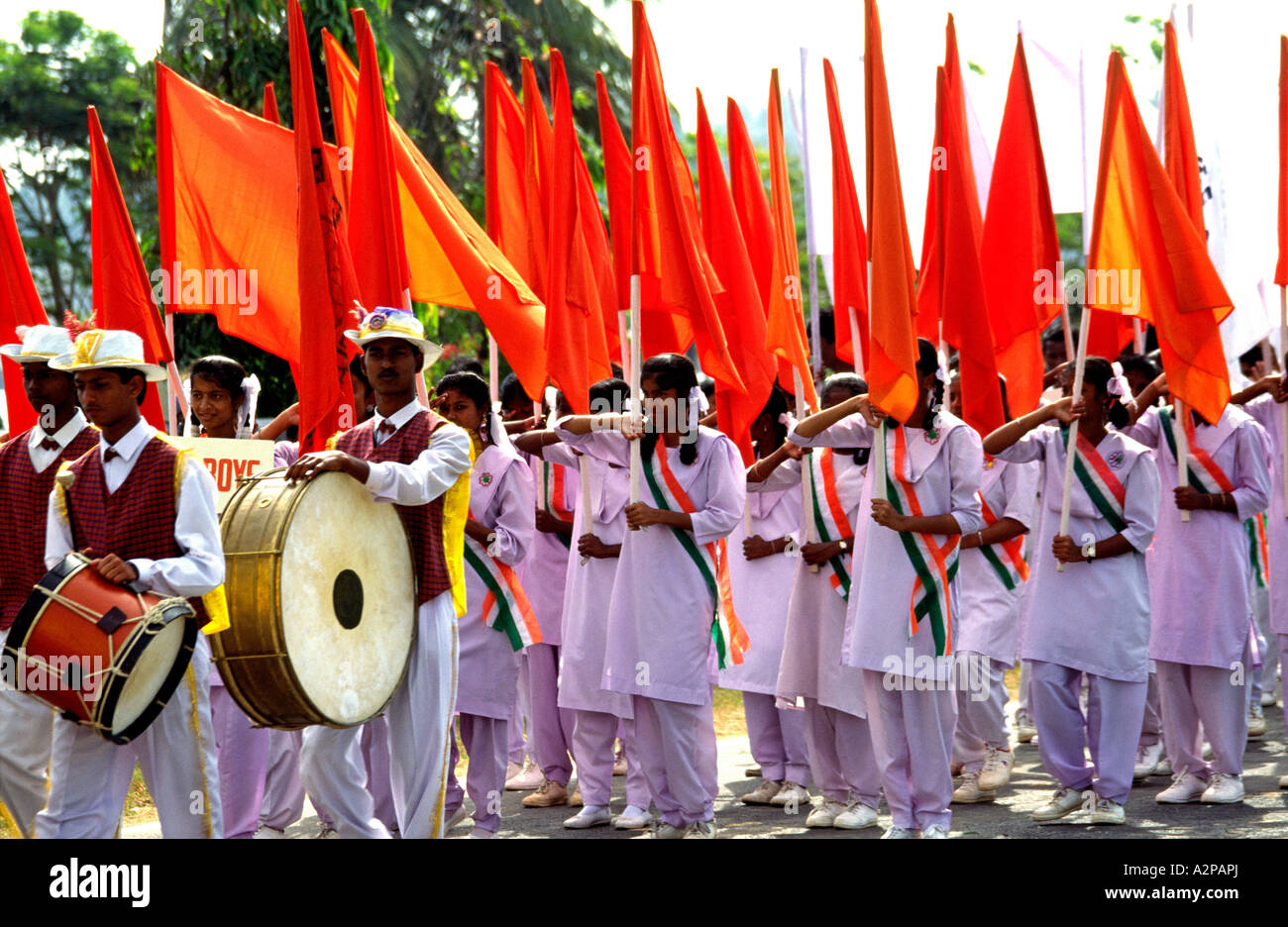 Indian South Andaman Island Port Blair Republic Day parade Indian youth movement carrying flags - Stock Image