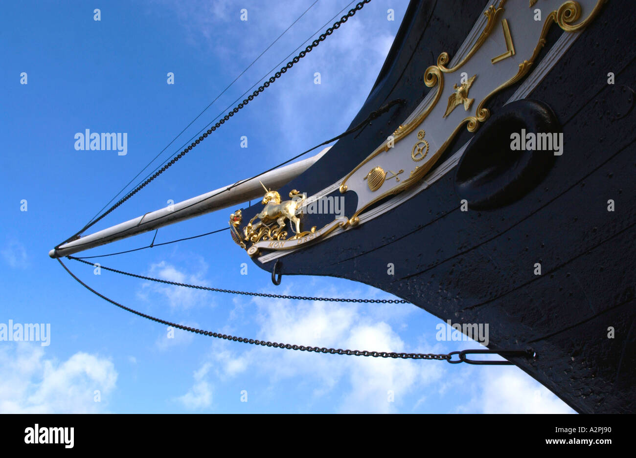 Bow of the SS Great Britain iron ocean-going passenger steamship built by Victorian engineer Isambard Kingdom Brunel in Bristol - Stock Image