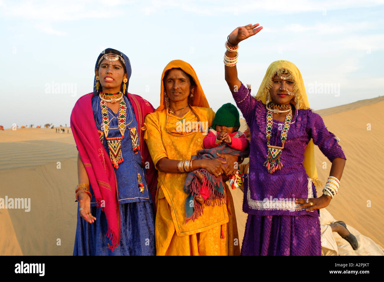 A Traditional Indian Family Bids Visitors Hello Near The Thar Desert Stock Photo 10574603 Alamy