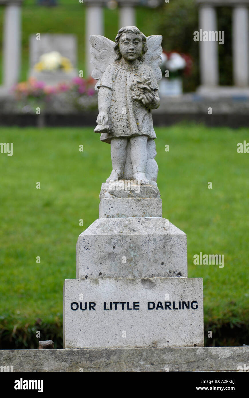 Gravestone for one of the schoolchildren killed in the 1966 Aberfan disaster Wales UK - Stock Image