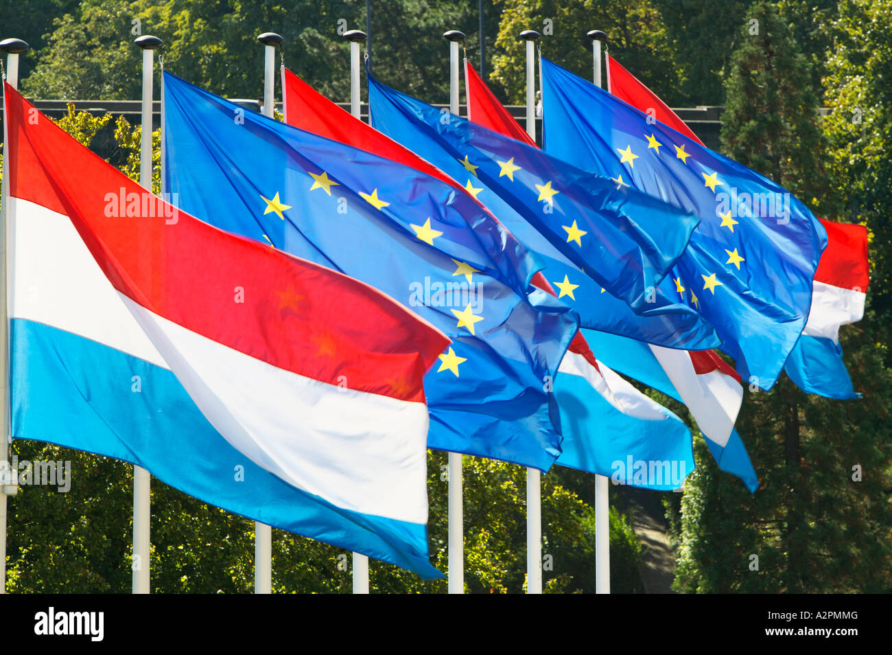 The Luxembourg and European Union flags in Luxembourg City - Stock Image