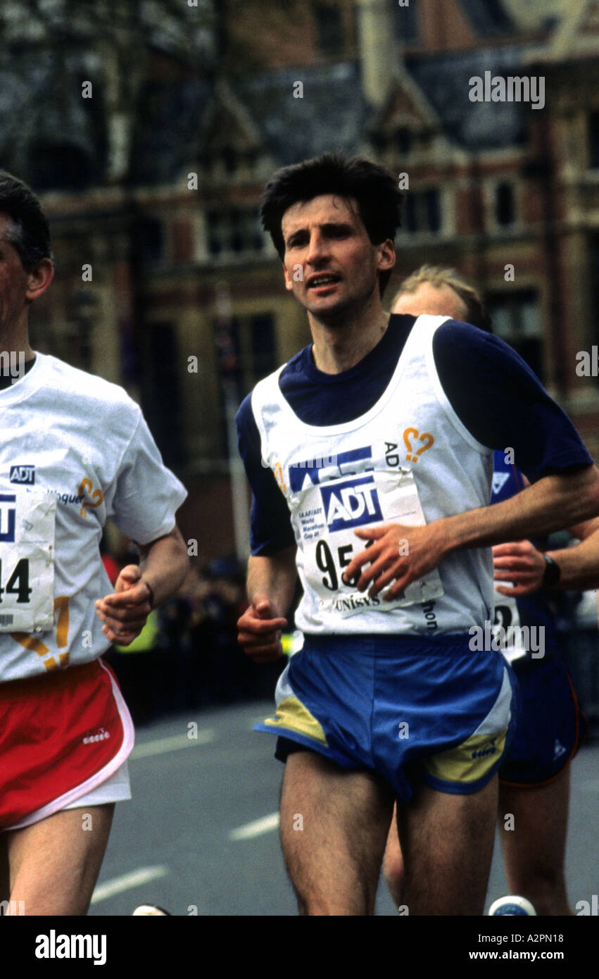Sebastian Coe running in 1991 London Marathon near finish at Westminster - Stock Image