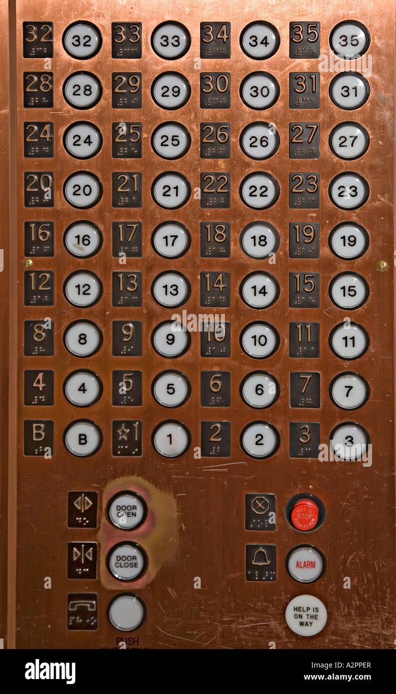 Symbols Of Cars >> Push buttons for floors in the Smith Tower elevator Seattle USA Stock Photo: 10575886 - Alamy