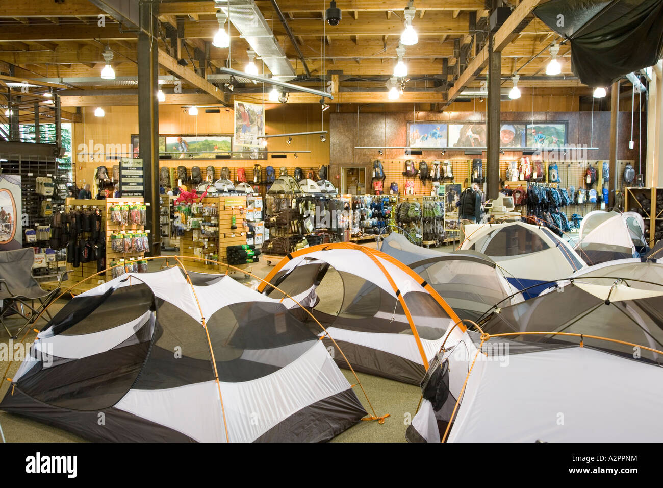 Tents and camping and outdoor equipment on sale Seattle USA Stock ... f122daf3e