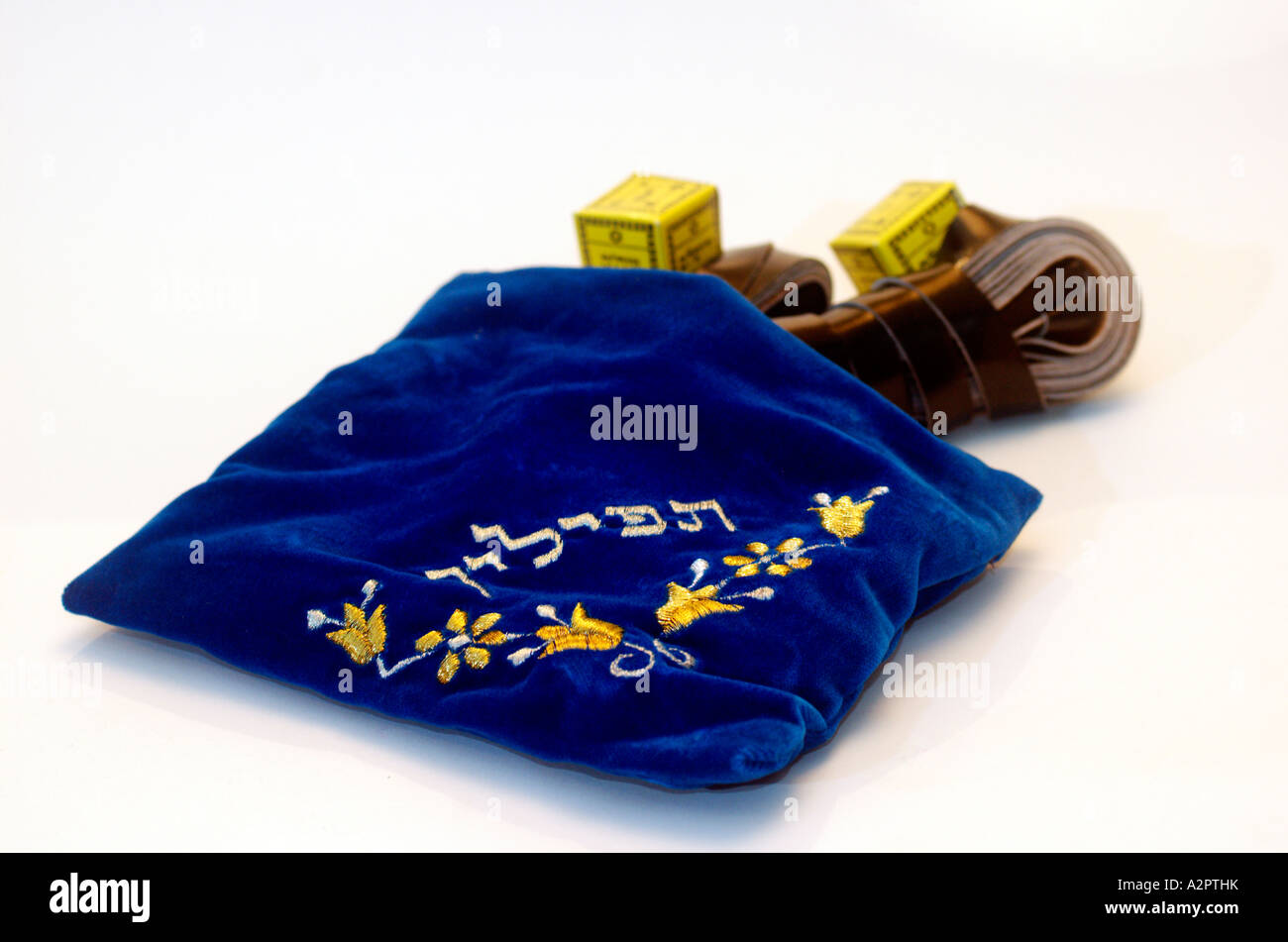 Tifillin and elaborated decorated tfillin bag - Stock Image
