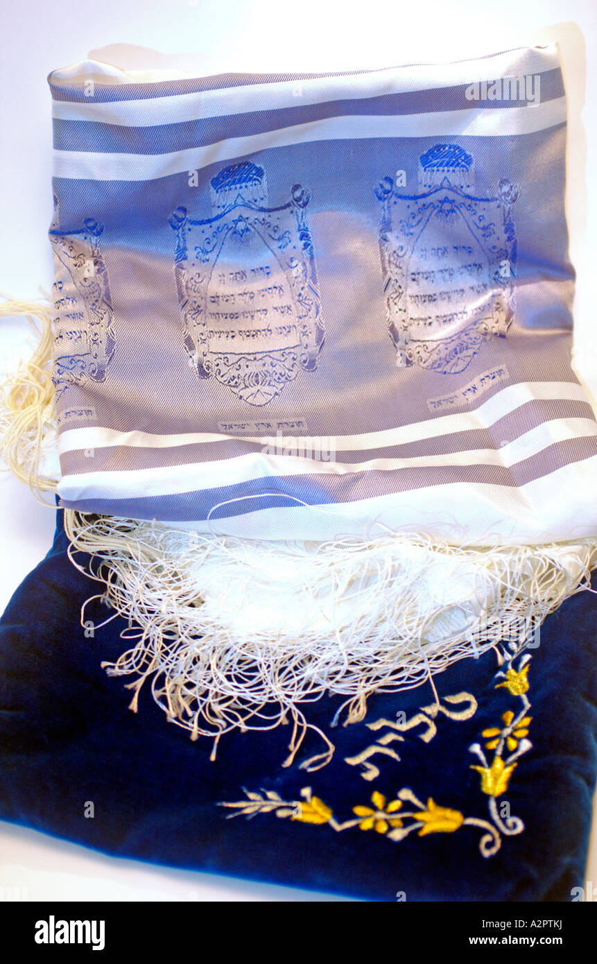 Tallit and an elaborated decorated talit bag - Stock Image