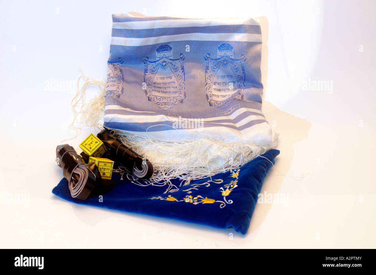 Tifillin Tallit and elaborated decorated tfillin bag - Stock Image