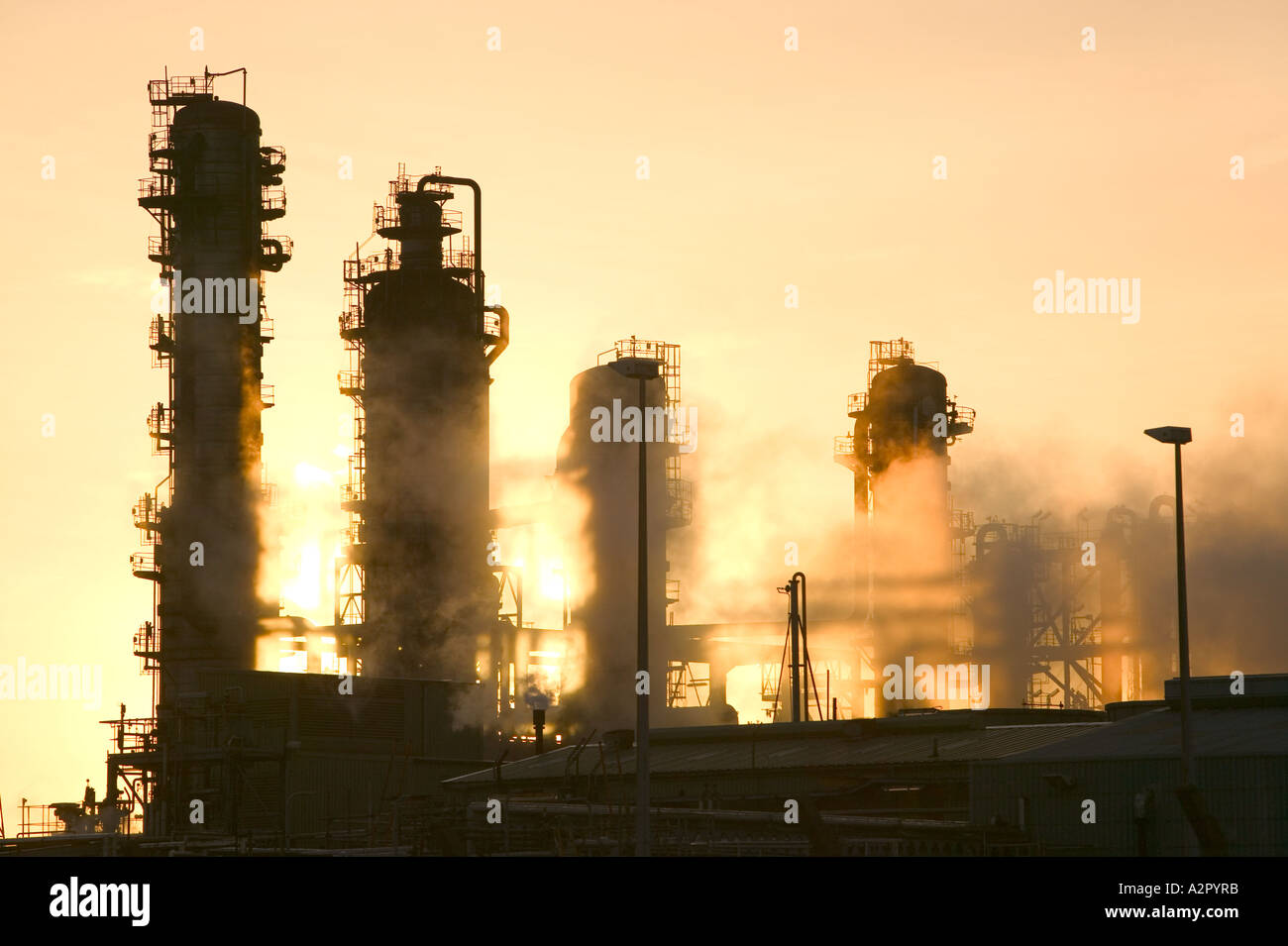 emmissions from a petrochemical plant at Midlesborough,  Teeside, at Dawn, UK Stock Photo