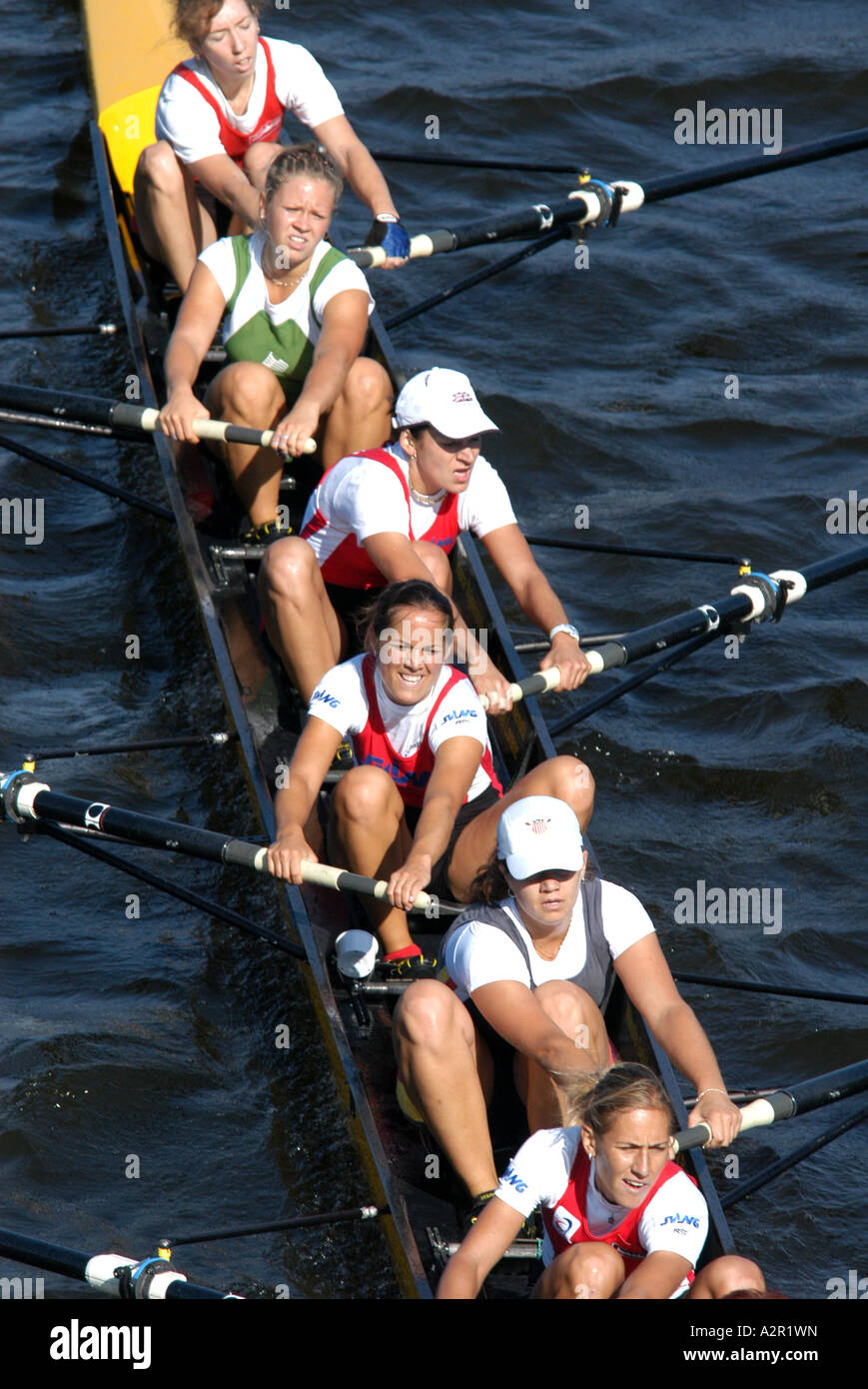 Female junior rowing team rowing ahead during a boat race on the River Vltava in Prague, Czech Republic, on September - Stock Image