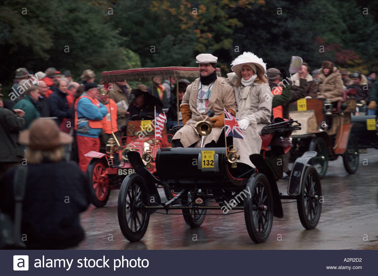Start of London to Brighton Veteran Car Run in Hyde Park, London, UK - Stock Image