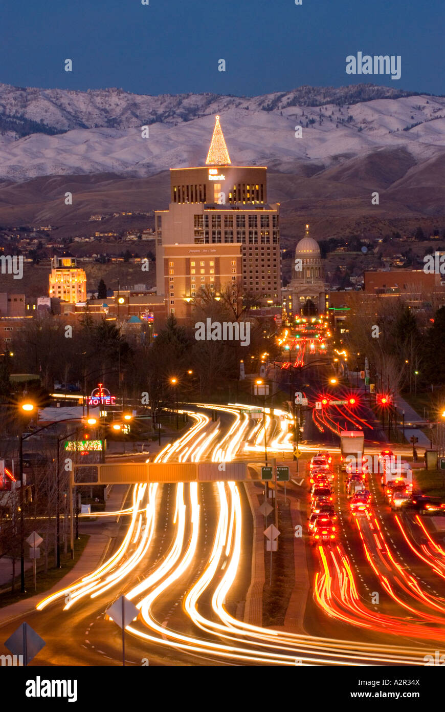 Idaho Boise Downtown Boise in the evening with the city lights aglow & Idaho Boise Downtown Boise in the evening with the city lights aglow ...