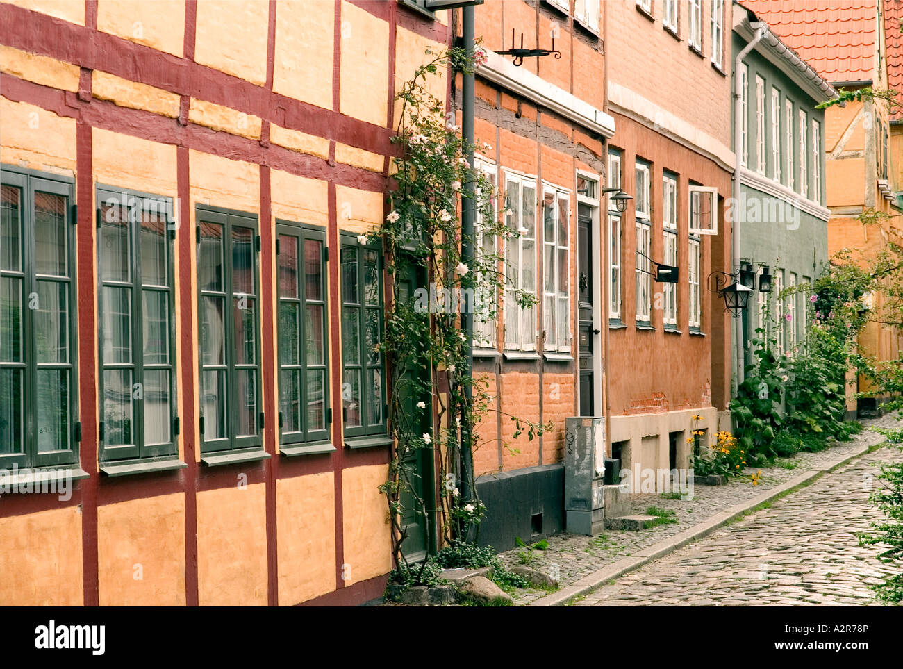 Street with old half timbered houses Helsingør Elsinore Zealand Denmark - Stock Image