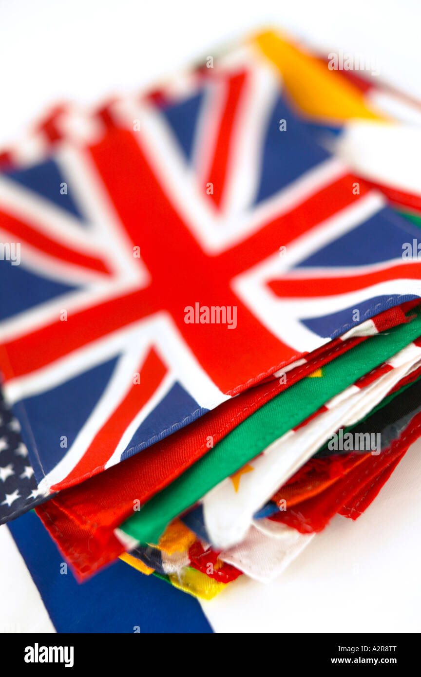 Flag Flags Union Jack Great Britain Red white and Blue British - Stock Image