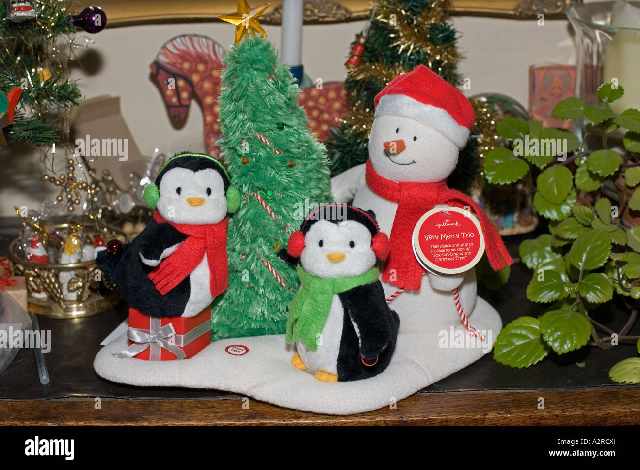 Hallmark Christmas trio of snowman and penguins soft toys with Stock ...