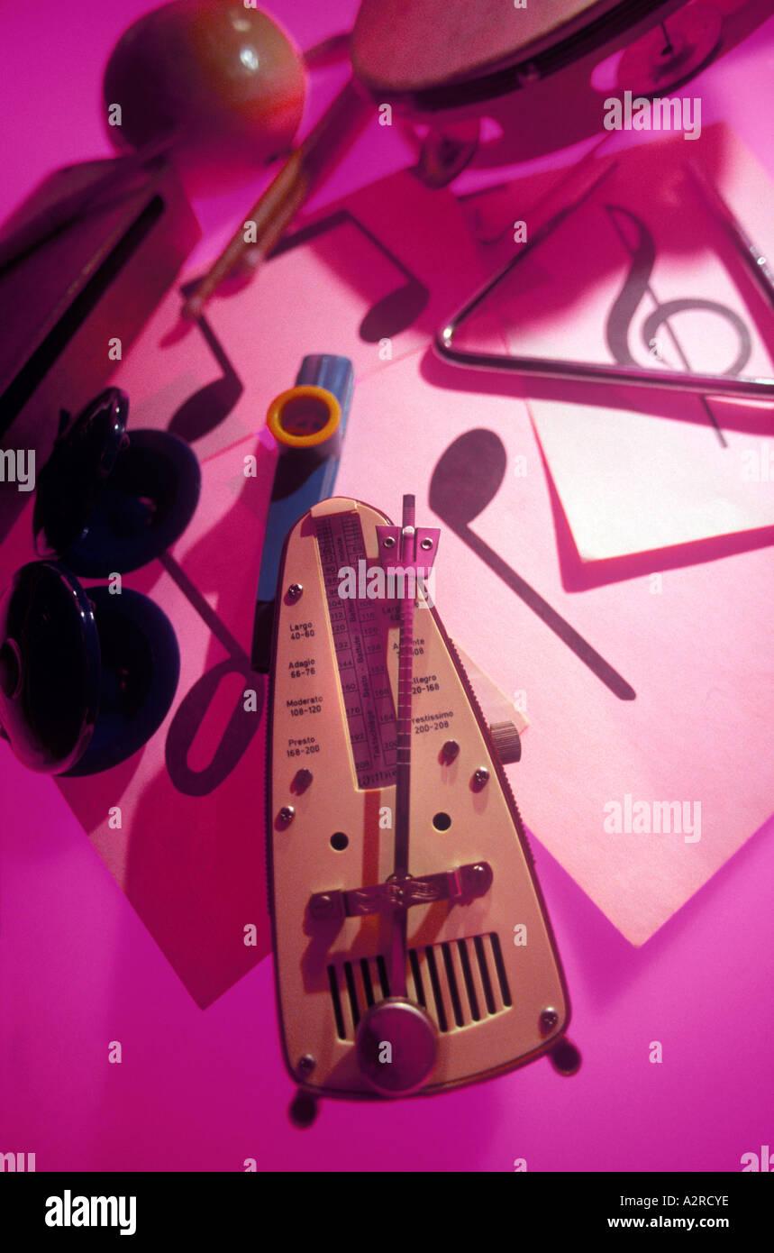 Medium close up of various percussion instruments. - Stock Image