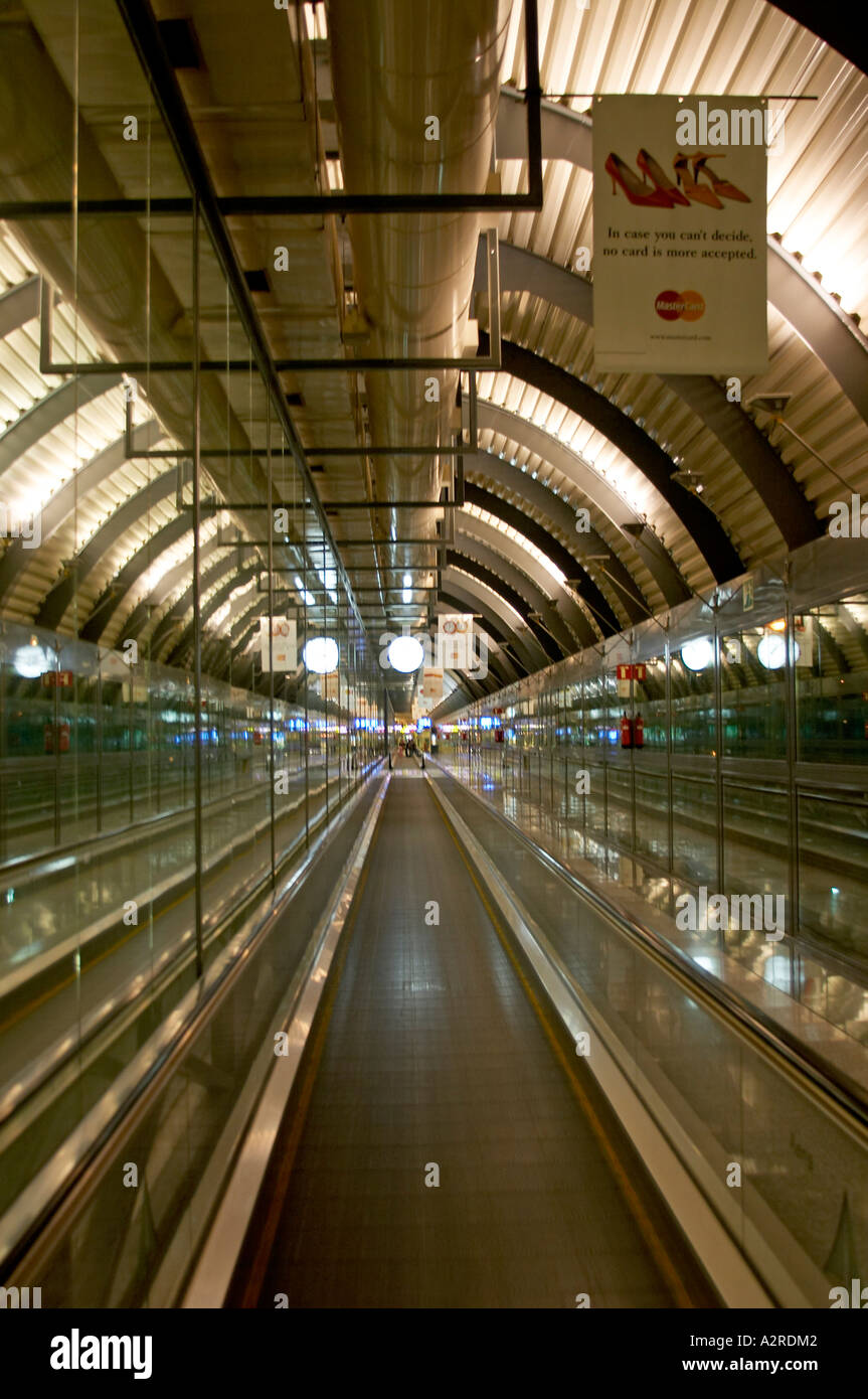 Moving walkway travelator Madrid Airport Spain - Stock Image