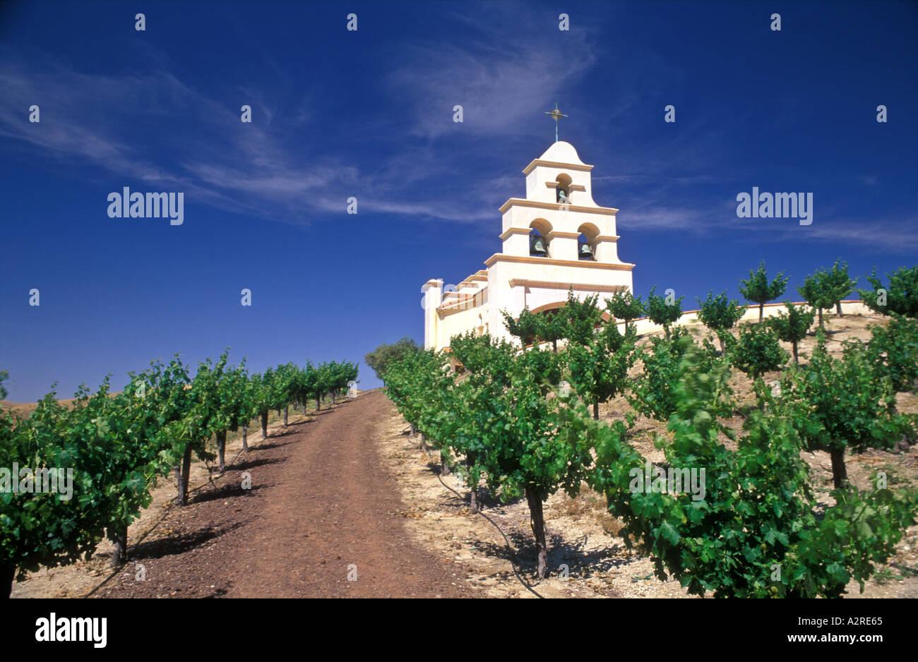 USA California Paso Robles Church on hill with grape vineyard Stock Photo