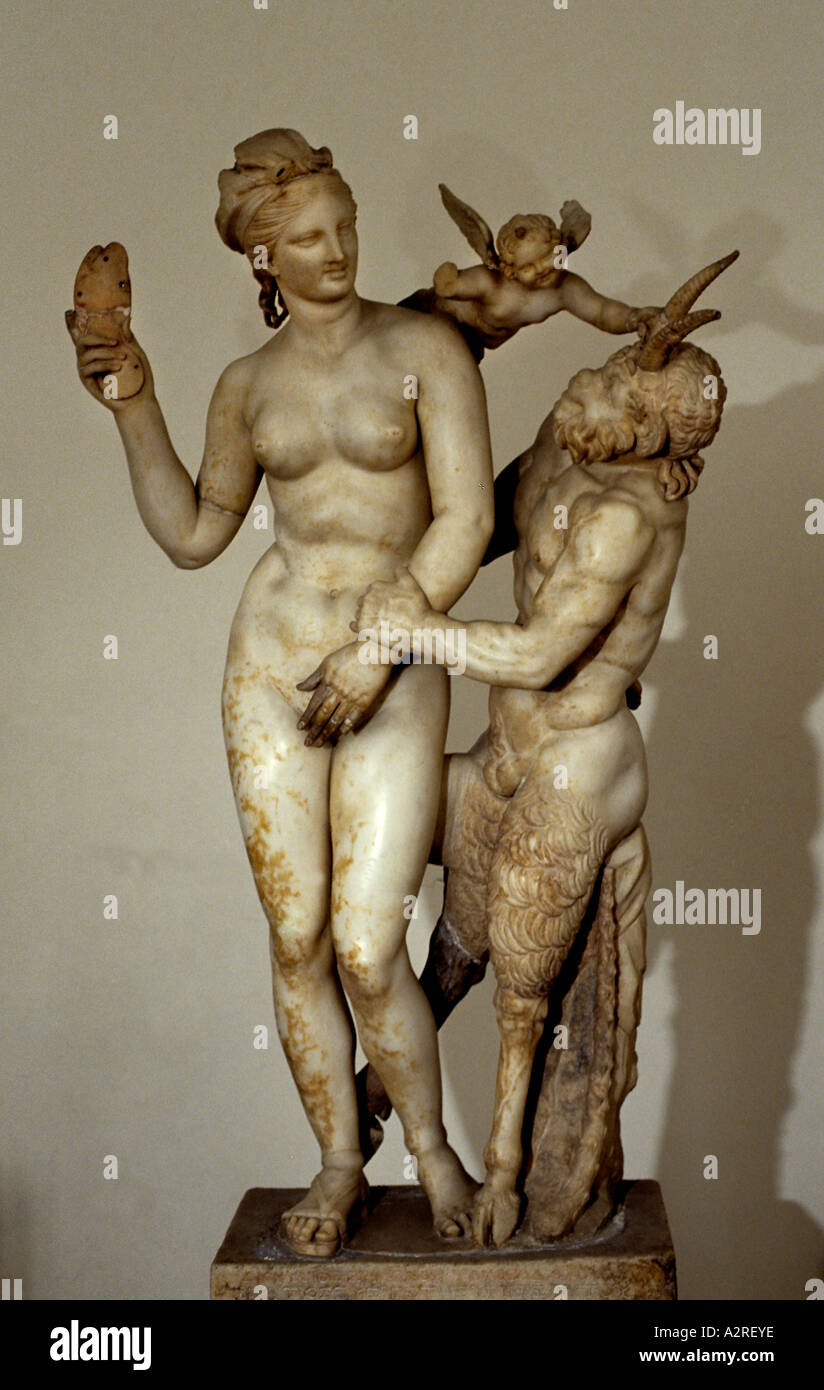 Aphrodite, Pan, and Eros, found on the Greek island of Delos and dated to approximately by Praxiteles, approximately 100 bc - Stock Image