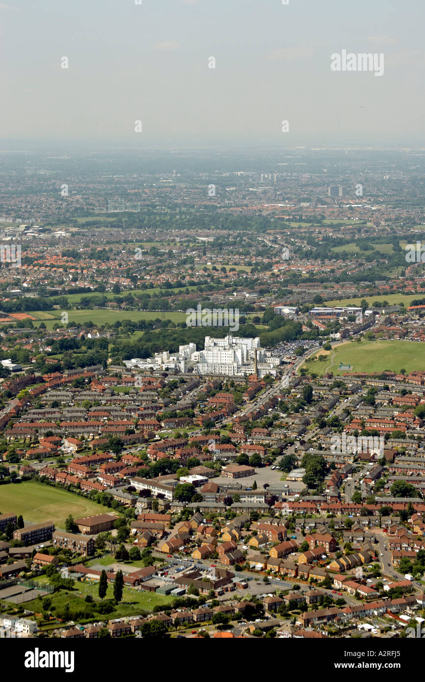 Oblique high level aerial view north west of Hackbridge to St Helier Hospital and Rosehill London SM5 SM1 England 2005 - Stock Image