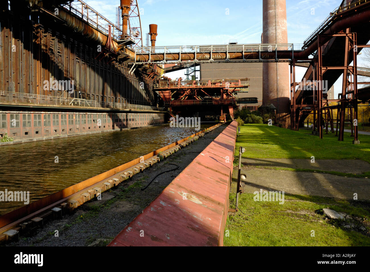 Zollverein coking plant, Essen, Germany, showing water installed for the 'Sun, Moon and Stars' exhibition - Stock Image