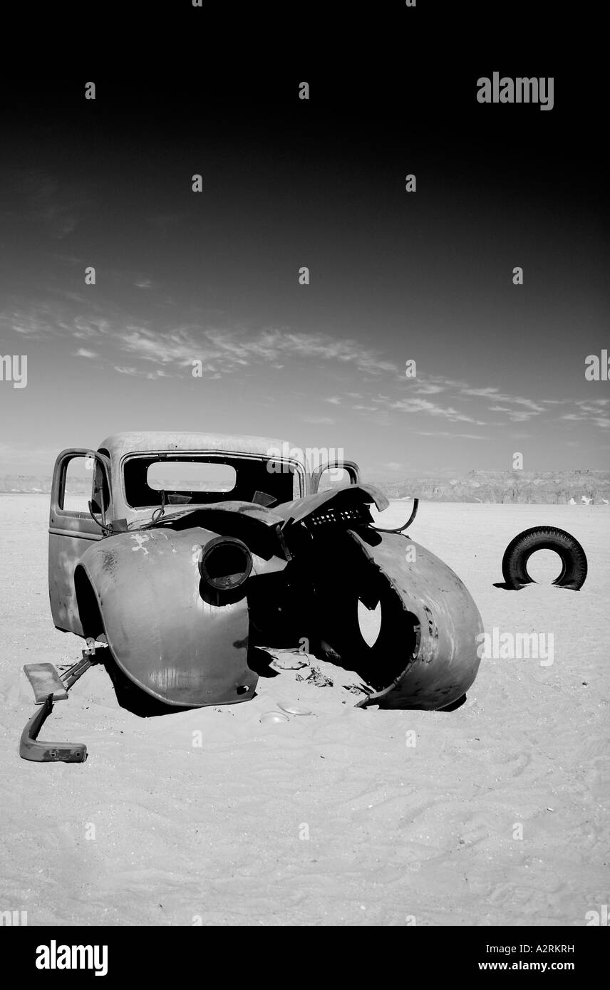 Lorry left behind by the British Military (LRDG) during WWII in the Gilf Kebir, Sahara Desert - Stock Image