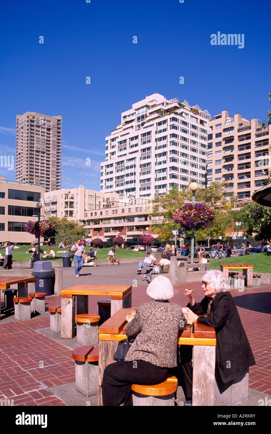"""Victor Steinbrueck"" Park Downtown Seattle Washington State USA Stock Photo"