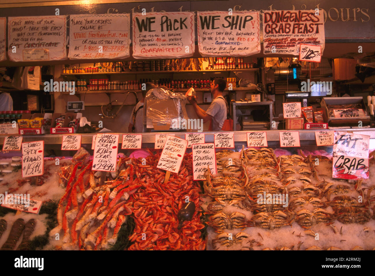 Pike Place Market, Seattle, Washington State, USA - Fresh Fish and Seafood for Sale on Ice at Local Fishmonger - Stock Image