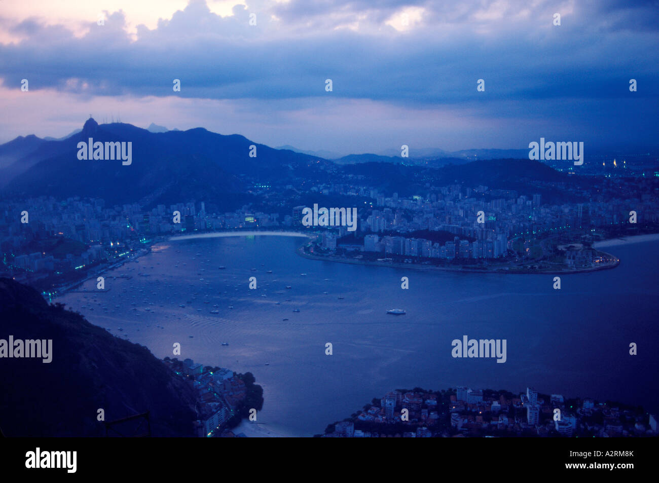 Rio Brazil South America. View of Flamingo  Beach and  Corcovado. - Stock Image