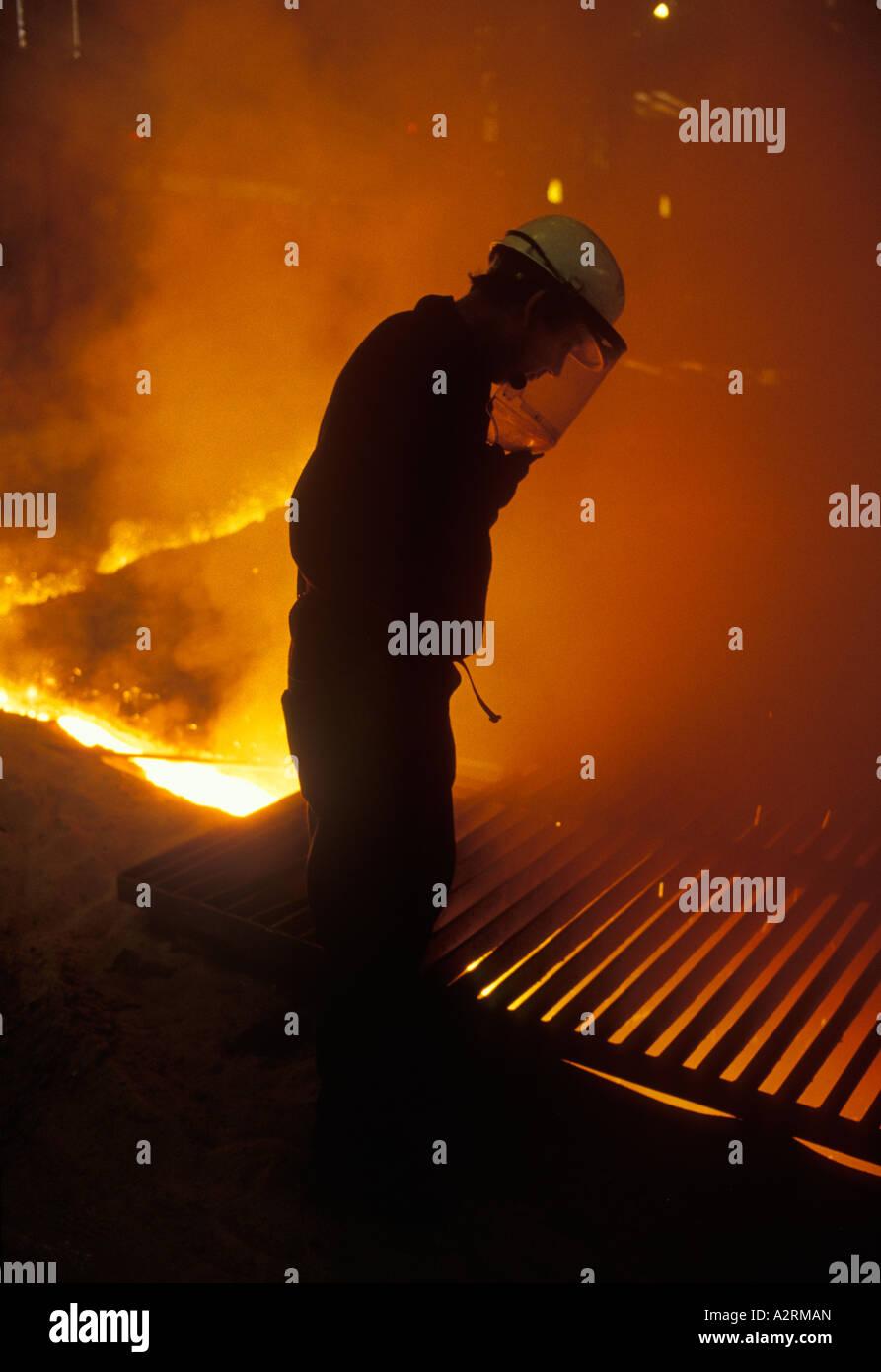British Steel Corporation  Steel making Port Talbot Wales UK. 1980s 80s HOMER SYKES - Stock Image