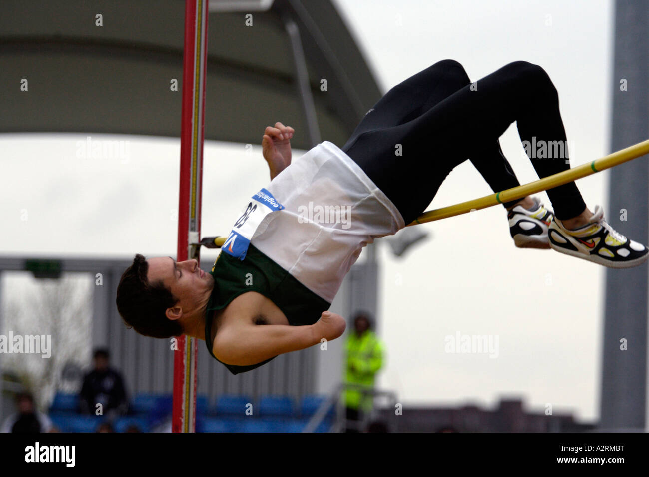 David Roos of South Africa competes in the men s F46 High Jump competition Stock Photo
